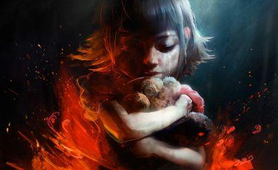 Annie, League of legends video game, artwork, teddy bear