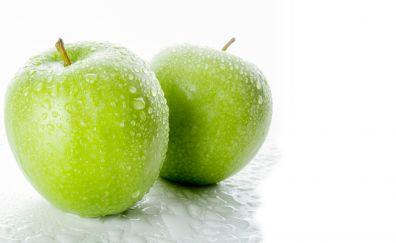 Apple, green fruits, drops