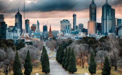 Melbourne, skyscrapers, architecture, city
