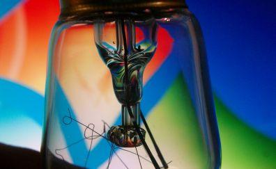 Bulb filament, light bulb, close up