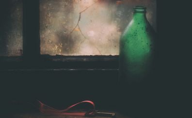 Keys, window, bottle