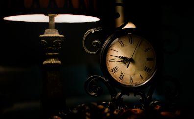 Clock, lamp, dark