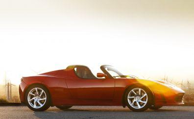 Tesla roadster sports car, red