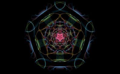 Mandala, abstract, colorful, pattern, dark