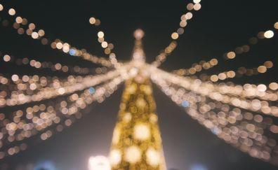 Christmas tree, night, bokeh wallpaper