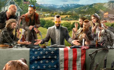 Far Cry 5, video game, table, flag, 4k, 8k