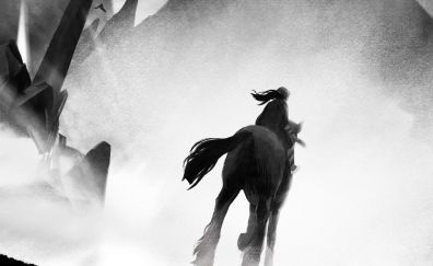 A blind legend, horse riding, game