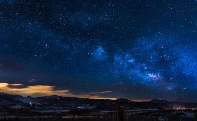 Colorado sky, clouds, night, stars, milky way galaxy