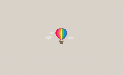 Parachute, Hot air Balloon, colorful, minimalism