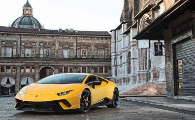 Lamborghini Huracan Performante, front view, yellow sports car