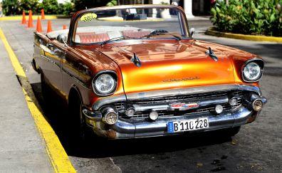 Chevrolet, classic, orange car