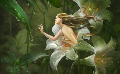 Fantasy, lily flowers, women