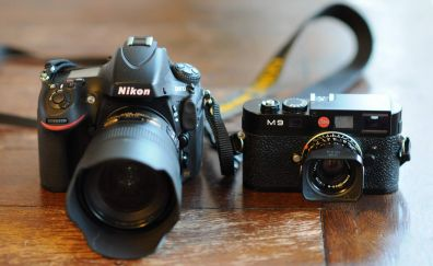 Leica camera and nikon camera