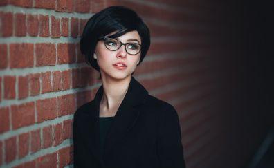 Wall, office wear, glasses, model, beautiful