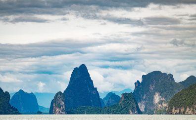 Mountains, tropical sea, horizon, nature, Thailand