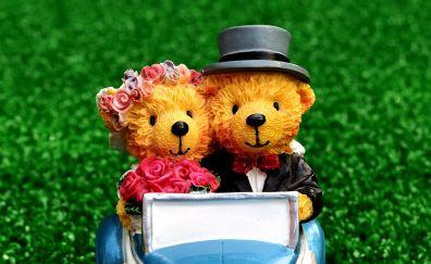 Teddy bear, couple, wedding, figure