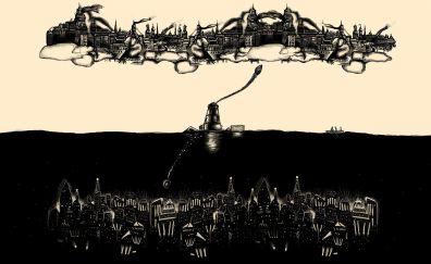Monochrome artwork of two city