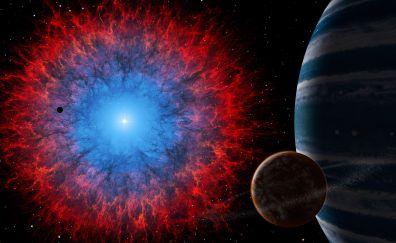 Nebula, dark, space, blast
