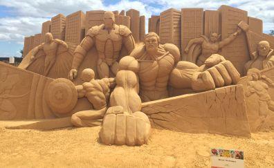 Sand sculpture of avengers