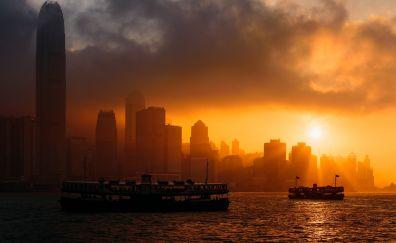 Hong kong city, skyscrapers, sunset