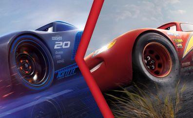 Lightning McQueen vs Jackson Storm, cars 3, race, 4k