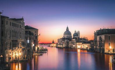 Venice, city, night, river, lights