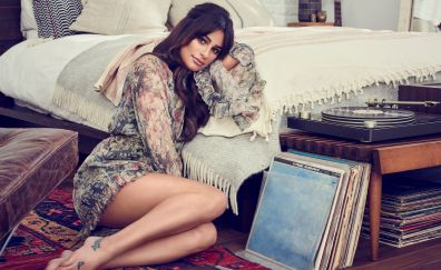 Lea Michele, American singer, bare foot, bed
