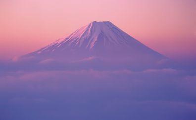 Mount fuji, clouds, nature, hd