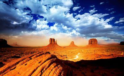 Monument Valley, Clouds, Mountains, Desert, Landscape