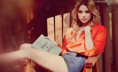 Ashley Benson, American celebrity, reading book
