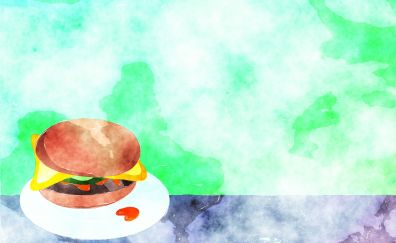Watercolor paint burger