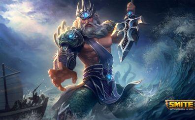 Poseidon, smite online game, warrior