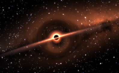 Black hole in space, stars