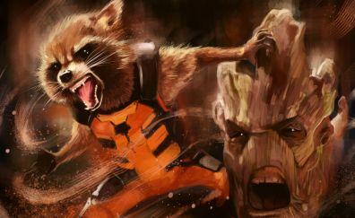 Rocket raccoon, groot, artwork
