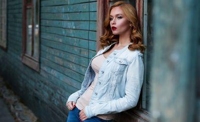 Russian model, fashion model, blue jeans
