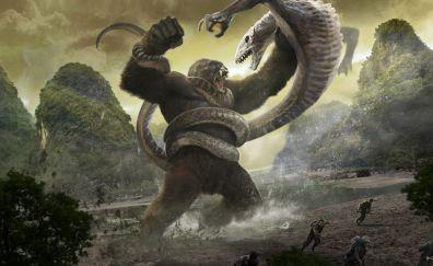 Kong: skull Island, Kong, reptiles, fight, art