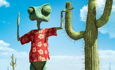 Rango animated movie, chameleon lizard, cactus