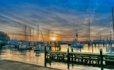 Baltic sea, port, sunset, ships