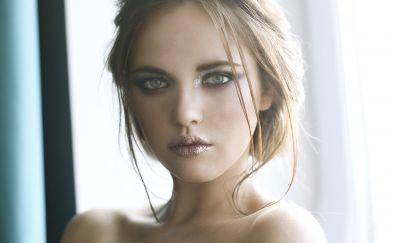 Blonde girl, face, bare shoulder, makeup