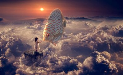 Fantasy girl and fish in cloudy sky