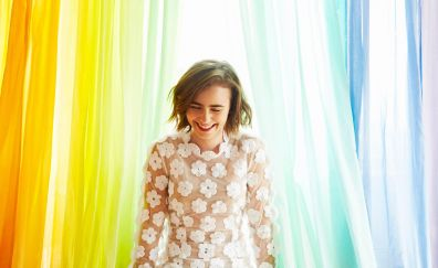 Lily Collins, smiling face
