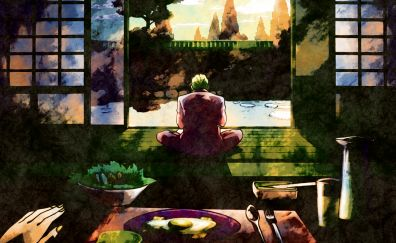 Anime boy, Yoshikage Kira, JoJo's Bizarre, sit