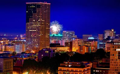 Portland, Oregon, night, city, buildings, fireworks, 4k