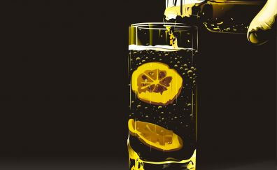 Glass of lemon lemonade drinks