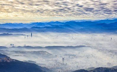 Taipei, cityscape, city, horizon, skyline, mist, fog