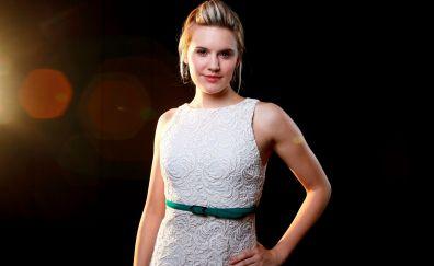 Maggie Grace, white dress, smile, celebrity