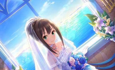 Rin Shibuya, wedding dress, flowers