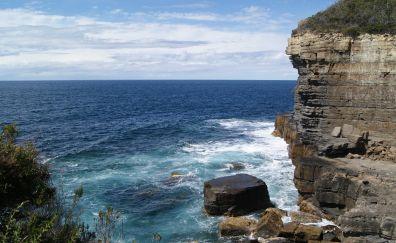 Coast sea, cliff, nature, blue sky, sea