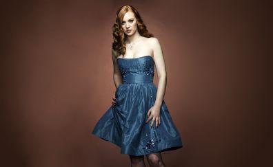 Deborah Ann Woll in blue dress, celebrity