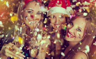 Girls enjoying merry Christmas and new year 2017